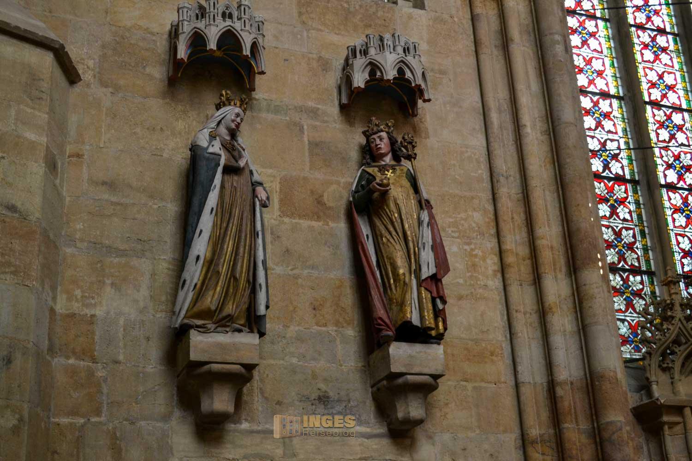 Zu sehen sind die beiden Stifter des Meißner Doms, Kaiser Otto I. und seine Gemahlin Adelheid