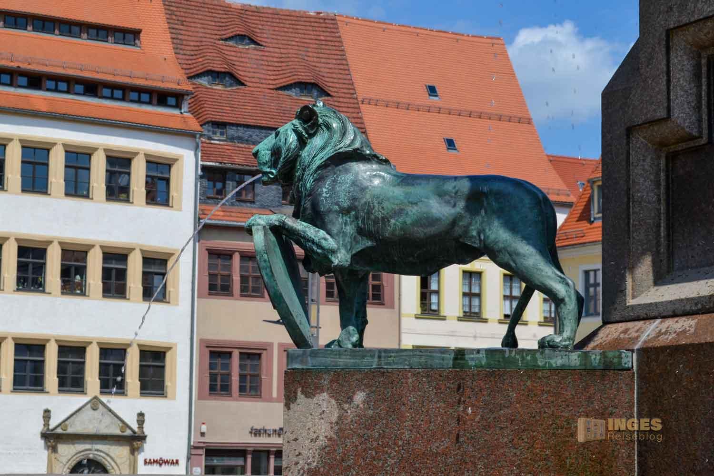 Löwenbrunnen Silberstadt Freiberg