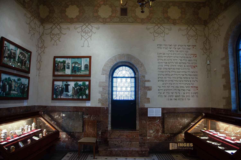 Die Jüdische Zeremonienhalle im Jüdischen Viertel in Prag