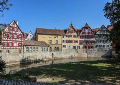 Altstadthäuser am Grasbödele und derKocherinsel Unterwöhrd in Schwäbisch Hall