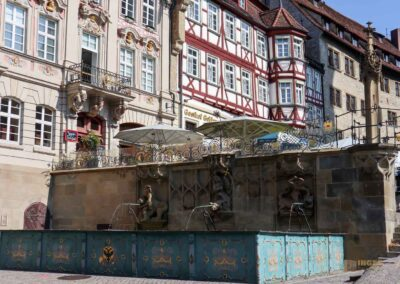Markt- und Fischbrunnen auf dem Marktplatz Schwäbisch Hall