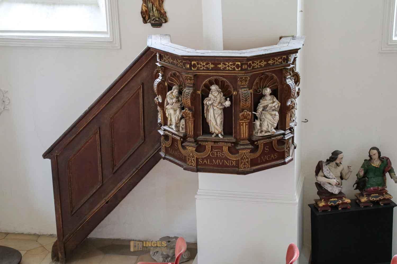 Kanzel in der Schlosskapelle St. Wendelin im Schloss ob Ellwangen